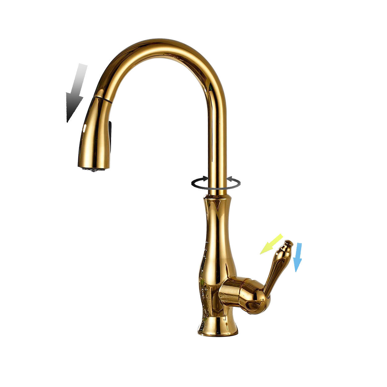 Monobloc Single Lever Swivel Pull Out Spray Brass Kitchen Tap Mixer ...