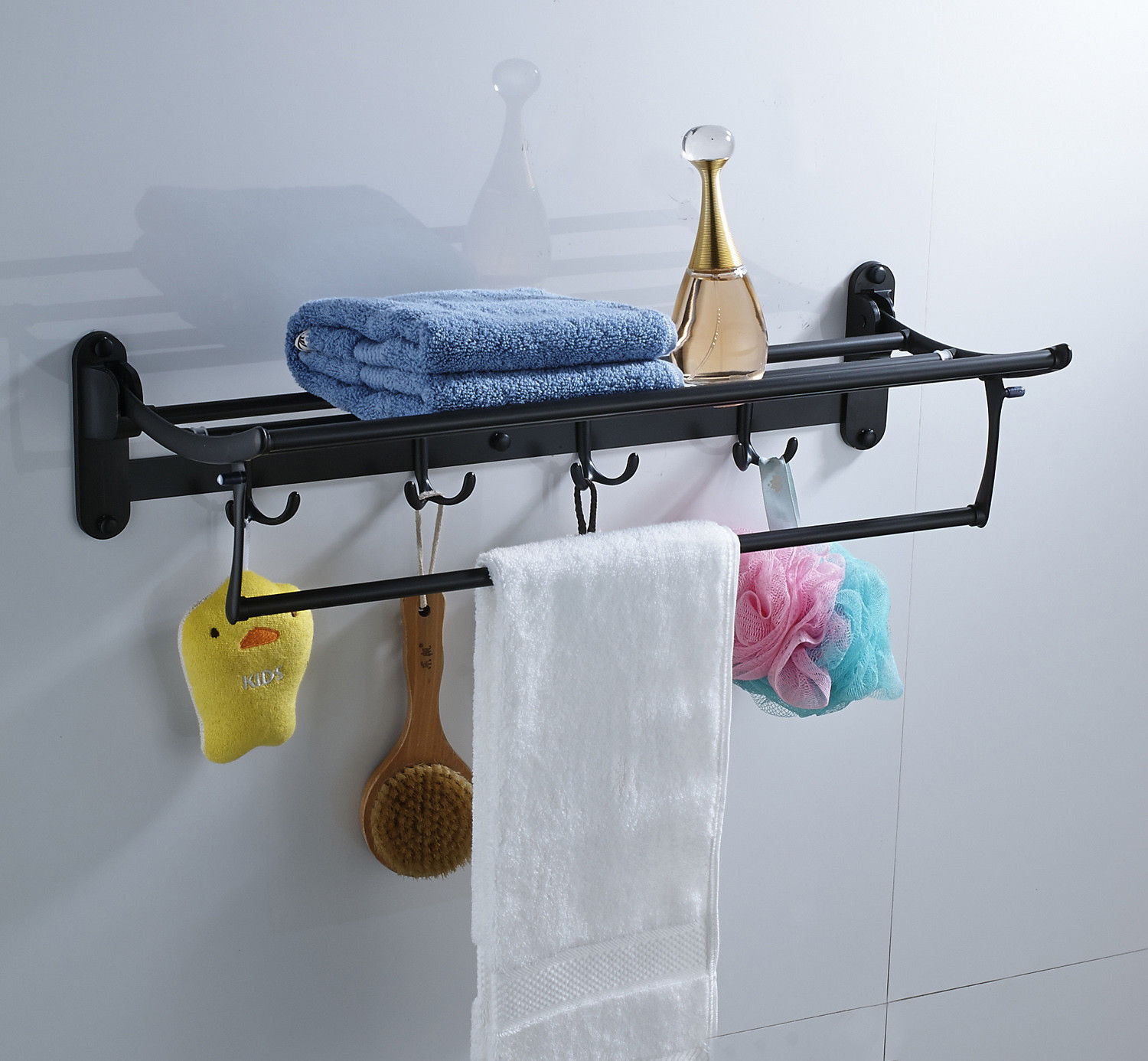 Foldable Bathroom Towel Bar Towel Shelf With Hook Hangers Oil Rubbed Bronze Ebay